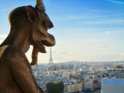 The roof of Notre Dame is sculpture garden of gargoyles, spirits, animals. (Allan Lynch Photo)